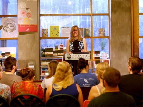 mary democker speaking at bookstore