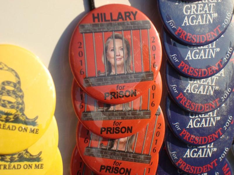 Trump Rally Hillary buttons