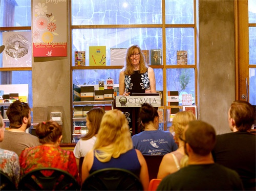 mary democker speaking at bookstore