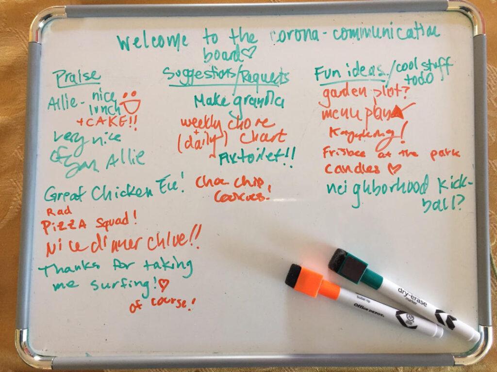 corona covid white board family communication mary democker parenting