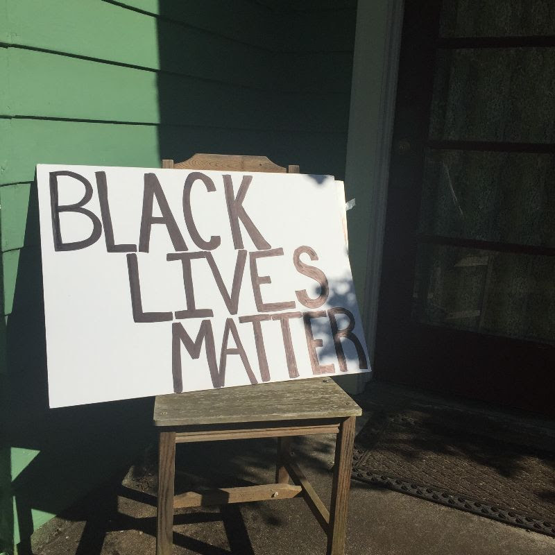 black lives matter sign Mary DeMocker